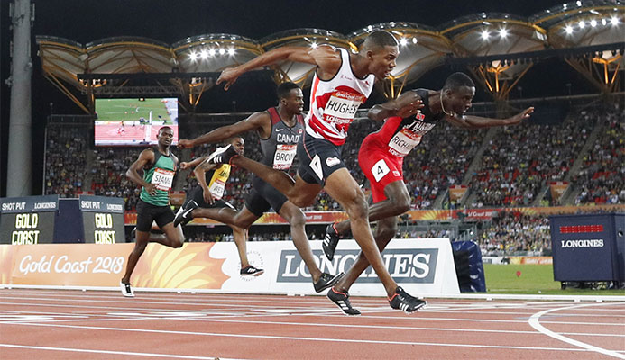 Jereem Richards, right, won the men's 200m after Zharnel Hughes was disqualified ©Getty Images