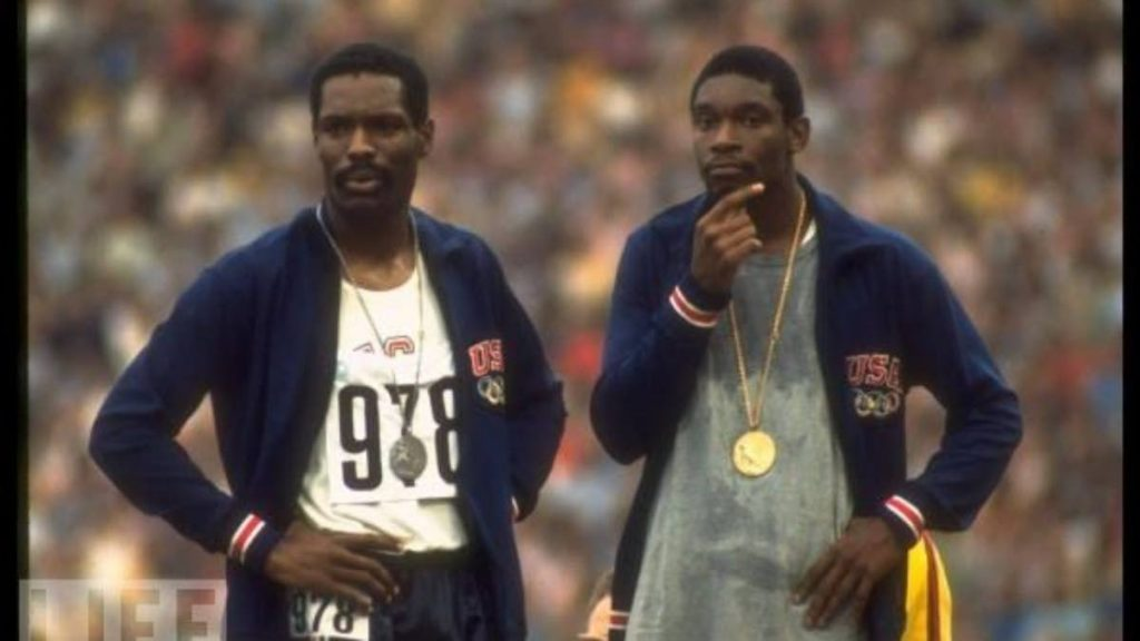 Wayne Collett (left) and Vince Matthews at the 400-metre Olympic ceremony at the 1972 Games in Munich, Germany. -